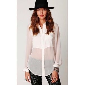 "Free People Sheer Blouse ""Best of Both Worlds"""